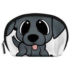 Newfie Gray Cartoon Accessory Pouches (Large)