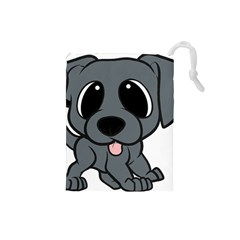Newfie Gray Cartoon Drawstring Pouches (Small)