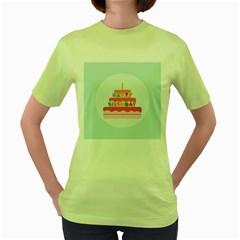 Birthday Cake Women s Green T-Shirt