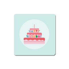 Birthday Cake Square Magnet