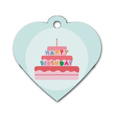 Birthday Cake Dog Tag Heart (Two Sides)