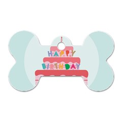 Birthday Cake Dog Tag Bone (One Side)