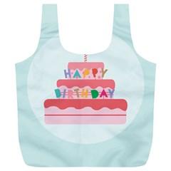 Birthday Cake Full Print Recycle Bags (L)