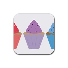 Cupcakes Rubber Square Coaster (4 pack)