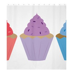 Cupcakes Shower Curtain 66  x 72  (Large)