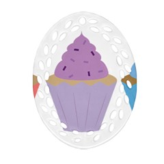 Cupcakes Ornament (Oval Filigree)