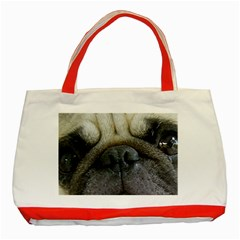 Pug Fawn Eyes Classic Tote Bag (Red)