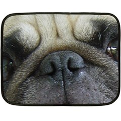 Pug Fawn Eyes Double Sided Fleece Blanket (Mini)