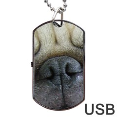 Pug Fawn Eyes Dog Tag USB Flash (One Side)