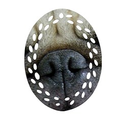 Pug Fawn Eyes Ornament (Oval Filigree)