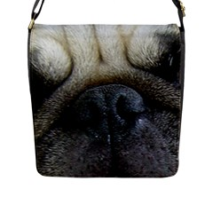 Pug Fawn Eyes Flap Messenger Bag (L)