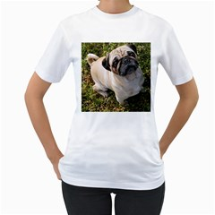 Pug Fawn Full Women s T-Shirt (White) (Two Sided)