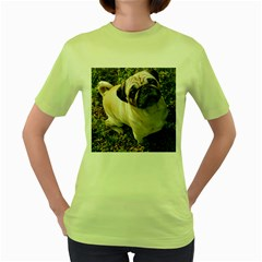 Pug Fawn Full Women s Green T-Shirt