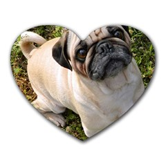 Pug Fawn Full Heart Mousepads