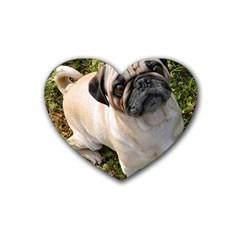 Pug Fawn Full Rubber Coaster (Heart)