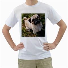 Pug Fawn Full Men s T-Shirt (White)