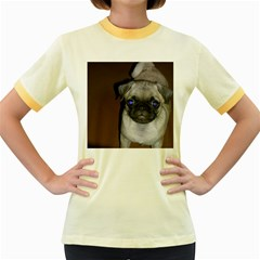 Pug Full 5 Women s Fitted Ringer T-Shirts