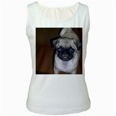 Pug Full 5 Women s White Tank Top