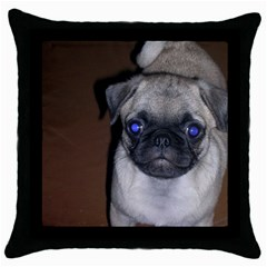 Pug Full 5 Throw Pillow Case (Black)