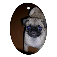 Pug Full 5 Oval Ornament (Two Sides)