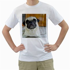 Pug Laying Men s T-Shirt (White) (Two Sided)