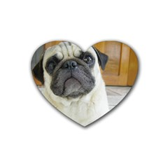 Pug Laying Rubber Coaster (Heart)