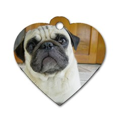 Pug Laying Dog Tag Heart (One Side)