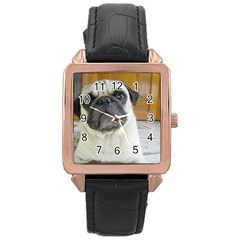 Pug Laying Rose Gold Leather Watch