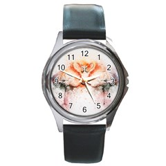 Flamingo Absract Round Metal Watch