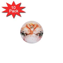 Flamingo Absract 1  Mini Buttons (10 pack)