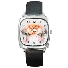 Flamingo Absract Square Metal Watch