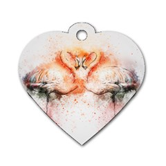 Flamingo Absract Dog Tag Heart (Two Sides)