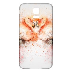 Flamingo Absract Samsung Galaxy S5 Back Case (White)