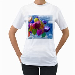 Balloons Women s T-Shirt (White) (Two Sided)