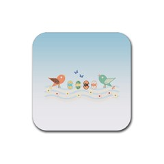 Cute Birds Rubber Coaster (Square)