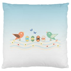 Cute Birds Large Flano Cushion Case (Two Sides)