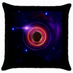 The Little Astronaut on a Tiny Fractal Planet Throw Pillow Case (Black)