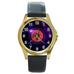 The Little Astronaut on a Tiny Fractal Planet Round Gold Metal Watch