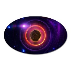 The Little Astronaut on a Tiny Fractal Planet Oval Magnet