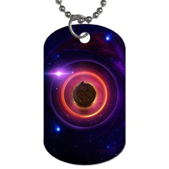 The Little Astronaut on a Tiny Fractal Planet Dog Tag (Two Sides)