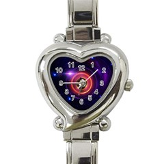 The Little Astronaut on a Tiny Fractal Planet Heart Italian Charm Watch