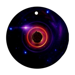 The Little Astronaut on a Tiny Fractal Planet Round Ornament (Two Sides)