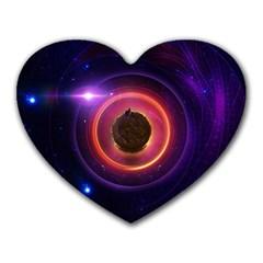 The Little Astronaut on a Tiny Fractal Planet Heart Mousepads