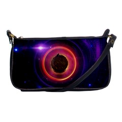 The Little Astronaut on a Tiny Fractal Planet Shoulder Clutch Bags