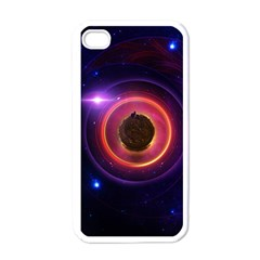 The Little Astronaut on a Tiny Fractal Planet Apple iPhone 4 Case (White)