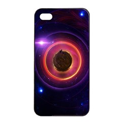 The Little Astronaut on a Tiny Fractal Planet Apple iPhone 4/4s Seamless Case (Black)