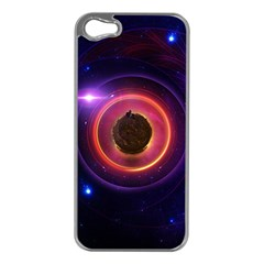 The Little Astronaut on a Tiny Fractal Planet Apple iPhone 5 Case (Silver)