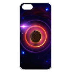 The Little Astronaut on a Tiny Fractal Planet Apple iPhone 5 Seamless Case (White)