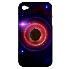 The Little Astronaut on a Tiny Fractal Planet Apple iPhone 4/4S Hardshell Case (PC+Silicone)