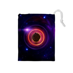 The Little Astronaut on a Tiny Fractal Planet Drawstring Pouches (Medium)
